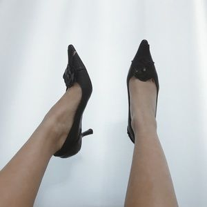Vintage Black Chanel Pointed Toe Kitten Heels